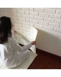 3D White Stone Brick Wall Paper