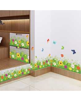 3D Green Grass Butterfly and Fish Wall Stickers