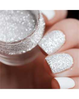 White Silver Nail Glitter Powder