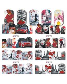 Red Romantic Design Nail Stickers