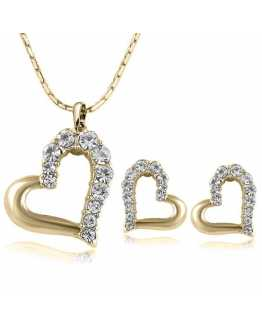 Lovely Heart Crystal Pendant with Earrings
