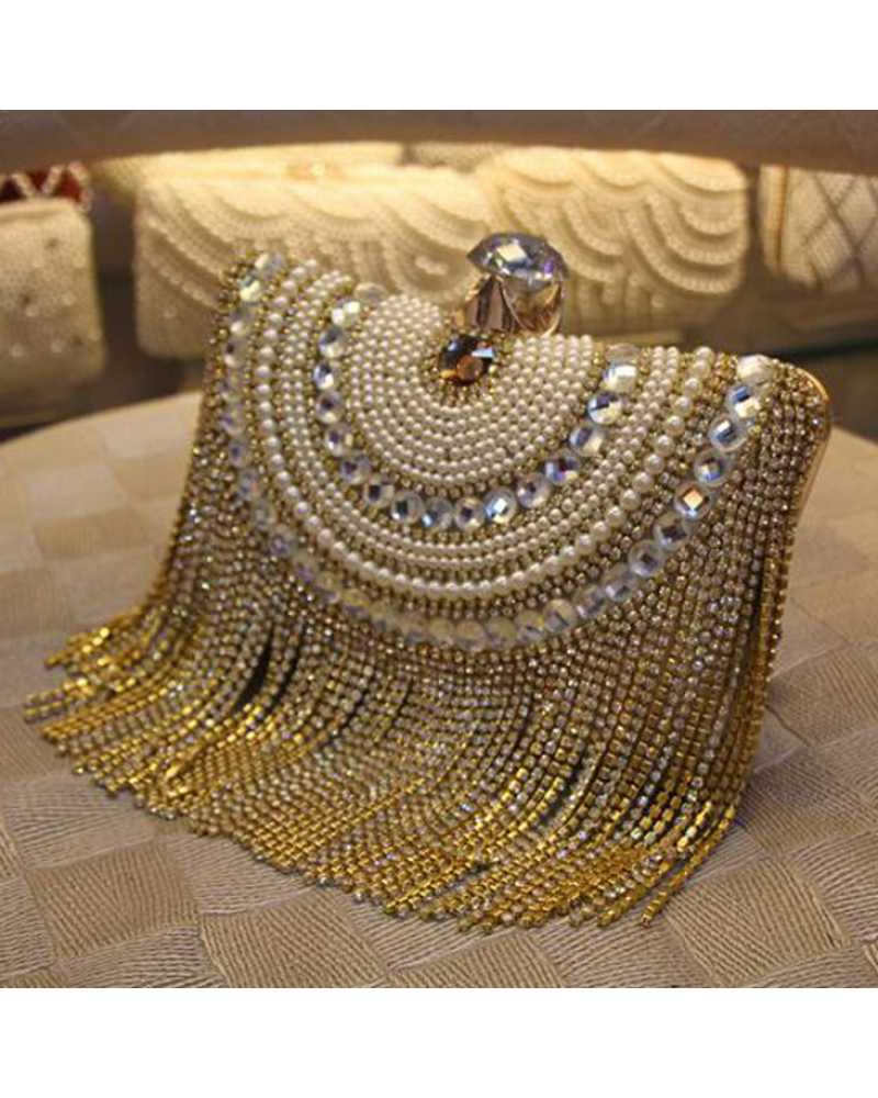 Crystal And Bead Long Tassel Clutches / Mini Bag