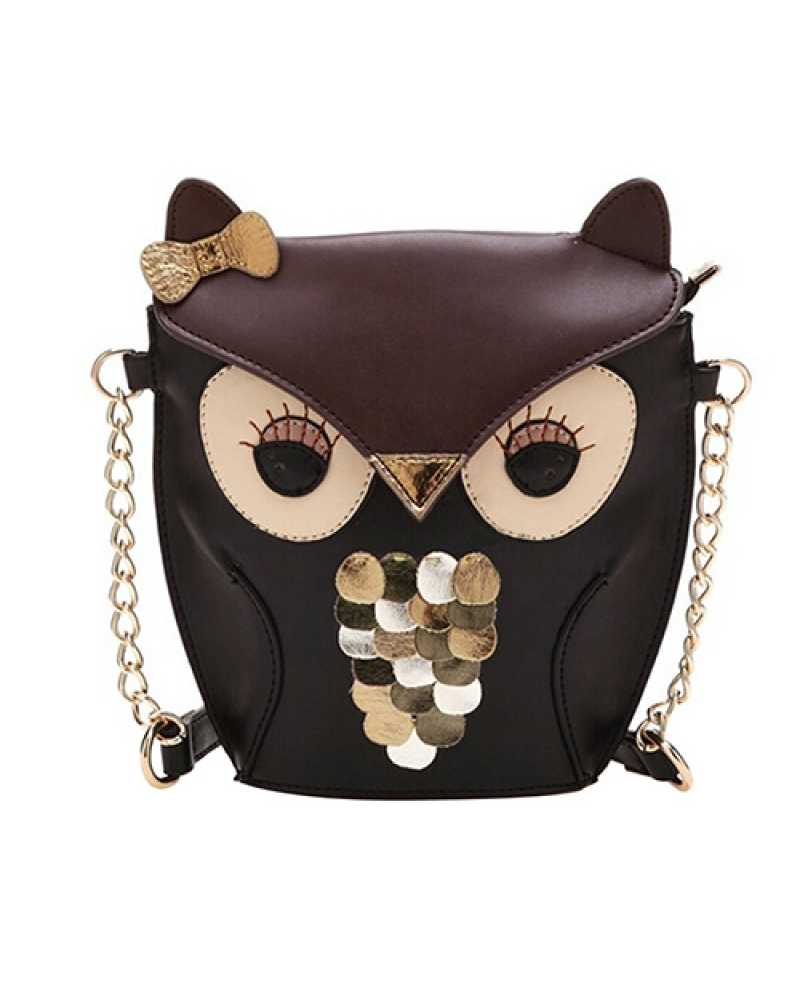 Owl Sequins Faux Leather Mini / Cross Body Bag