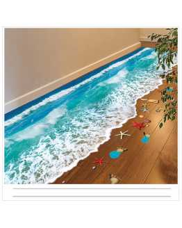 3D Blue Seaside Floor Sticker