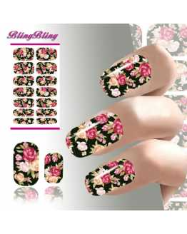 Black Flower Nail Stickers