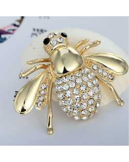 Golden Bee Crystal Brooch