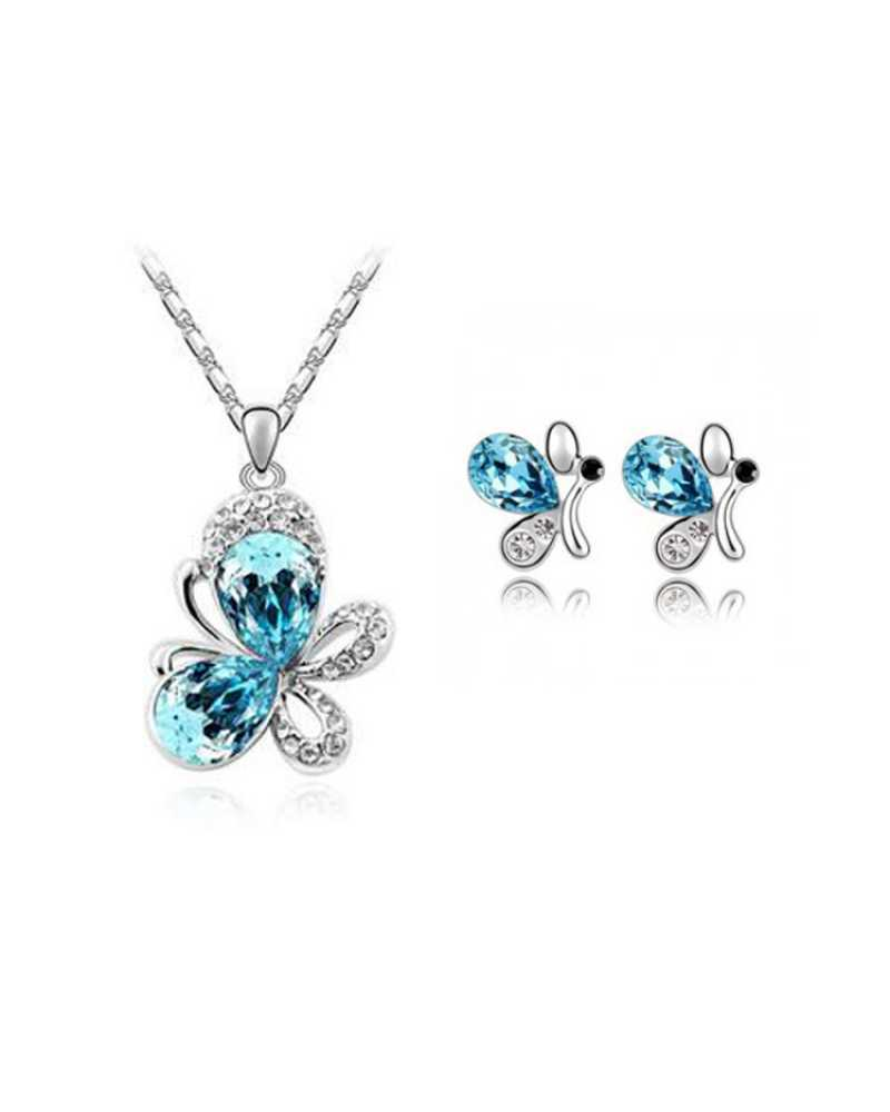 Silver Plated Crystal Butterfly Pendant With Earrings