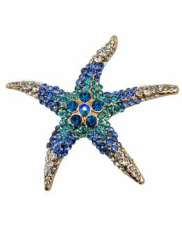 Blue Crystal Starfish Brooche