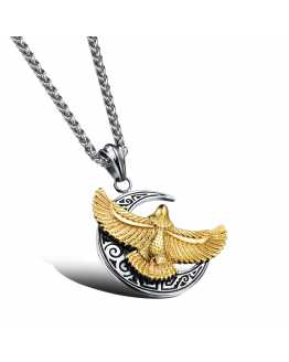 Eagle And Moon Charm Pendant