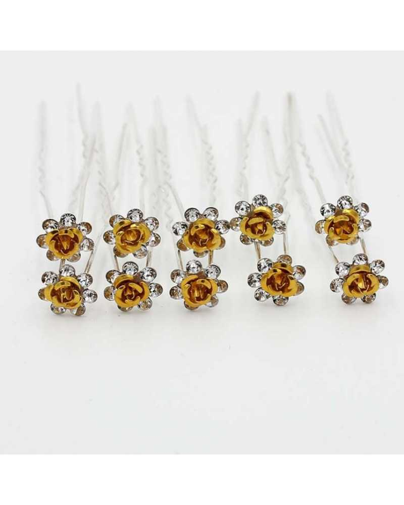 Rose Flower Crystal Hairpins