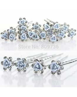 Blue Rose Flower Crystal Hairpins