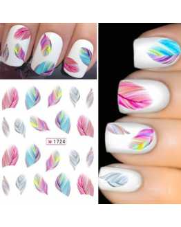 New Rainbow Colorful Feather Nail Stickers