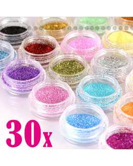 30 Pcs Assorted Colors Nail Glitter Powder