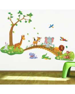 3D Cartoon Jungle Wall Stickers
