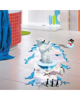 3D Polar Bear Penguin Floor Stickers