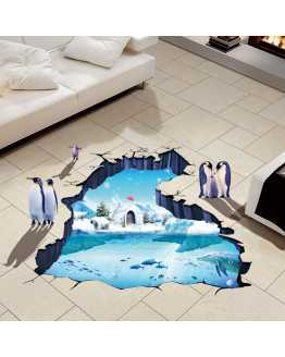 3D Polar Glacier Penguin Floor Sticker