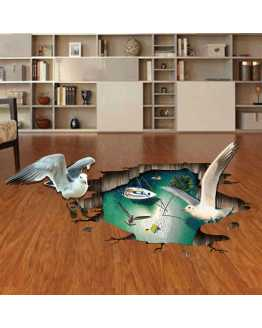 3D Bird Theme Floor Stickers