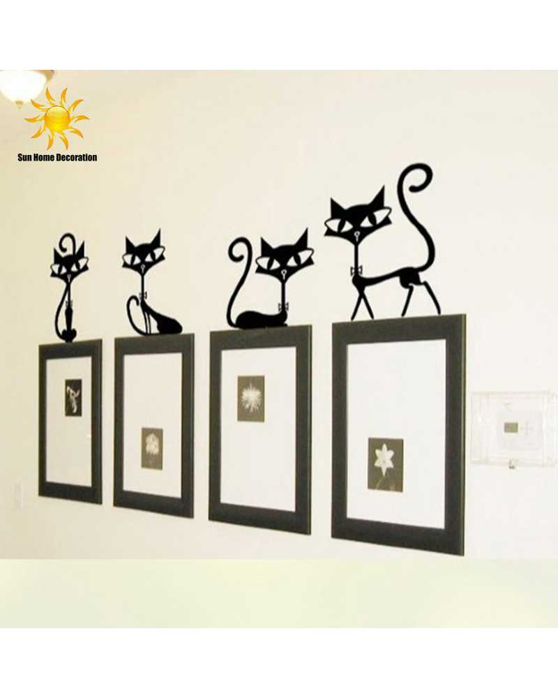 4 Black Cat Wall Stickers