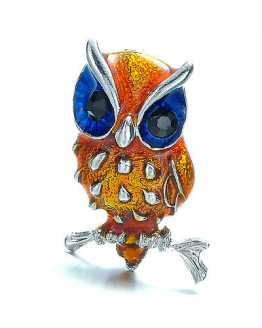 Yellow Silver Plated Owl Brooch