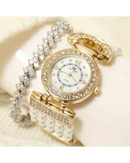 Elegant Pearl and Crystal Unique Ladies Watch