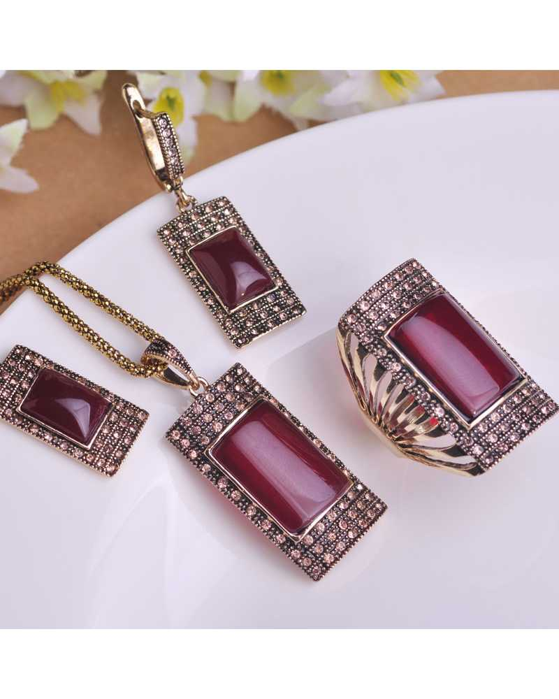 Vintage Antique Square Pendant With Earrings