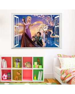 3D Cartoon Rapunzel Wall Stickers