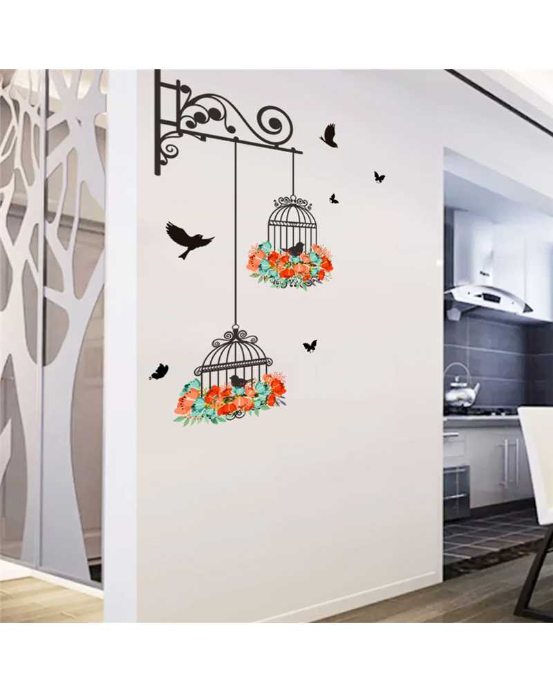 Bird In Cage Wall Stickers