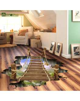 3D Floating Bridge Floor Sticker