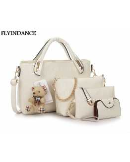 4Pcs Woman Leather Hand / shoulder Bag