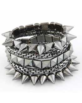 Multi Layer Spike Metal Bracelet