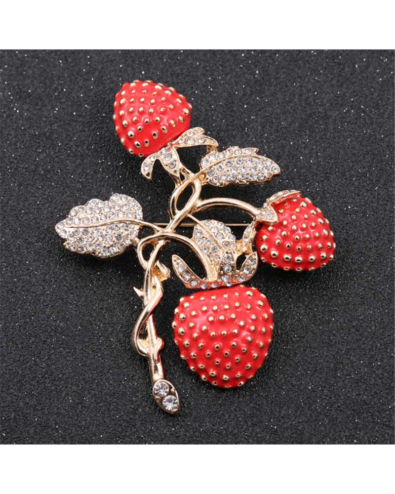 Crystal Strawberry Brooch
