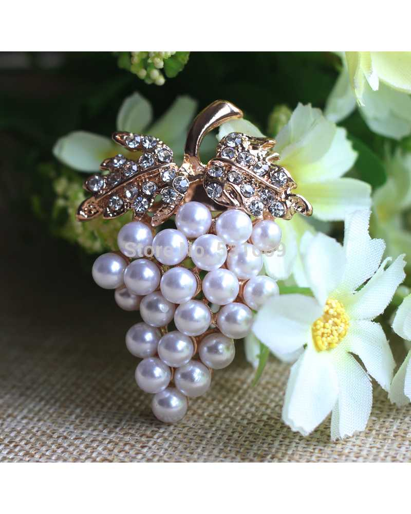 Crystal Pearl Grapes Brooches