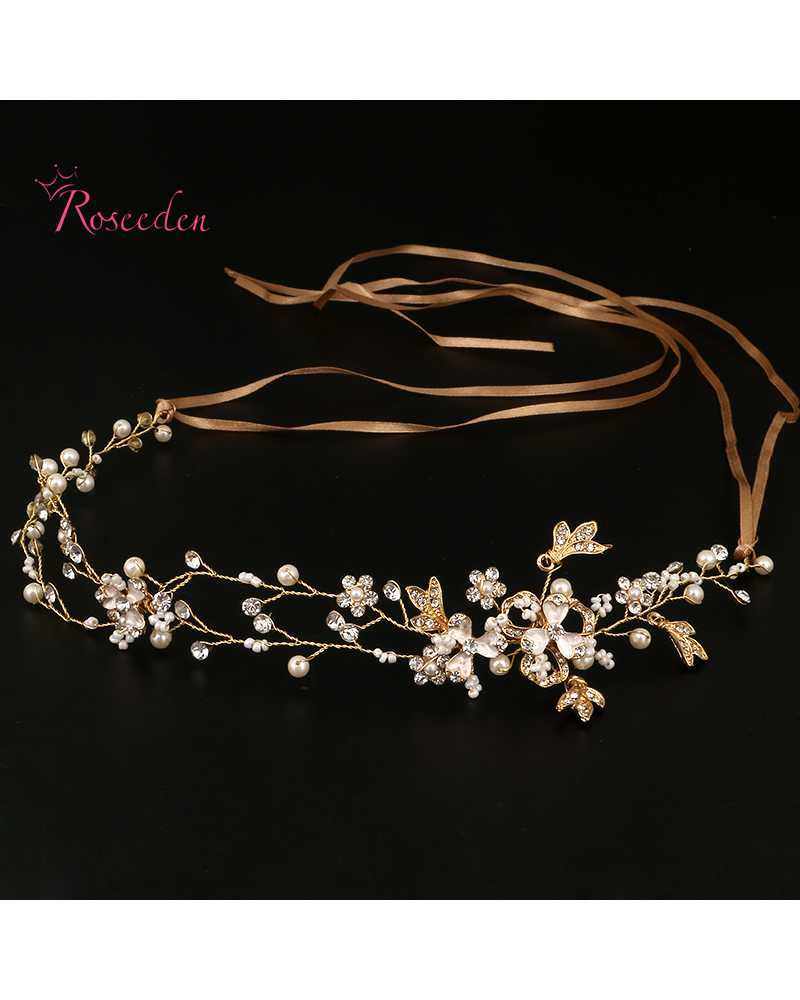 Golden Flower Pearl Crystal Hairwear