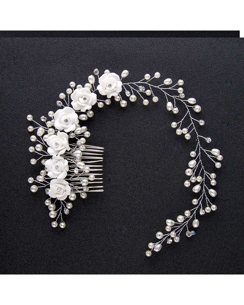 Bridal Pure White Flowers Pearl Hair Comb Clip