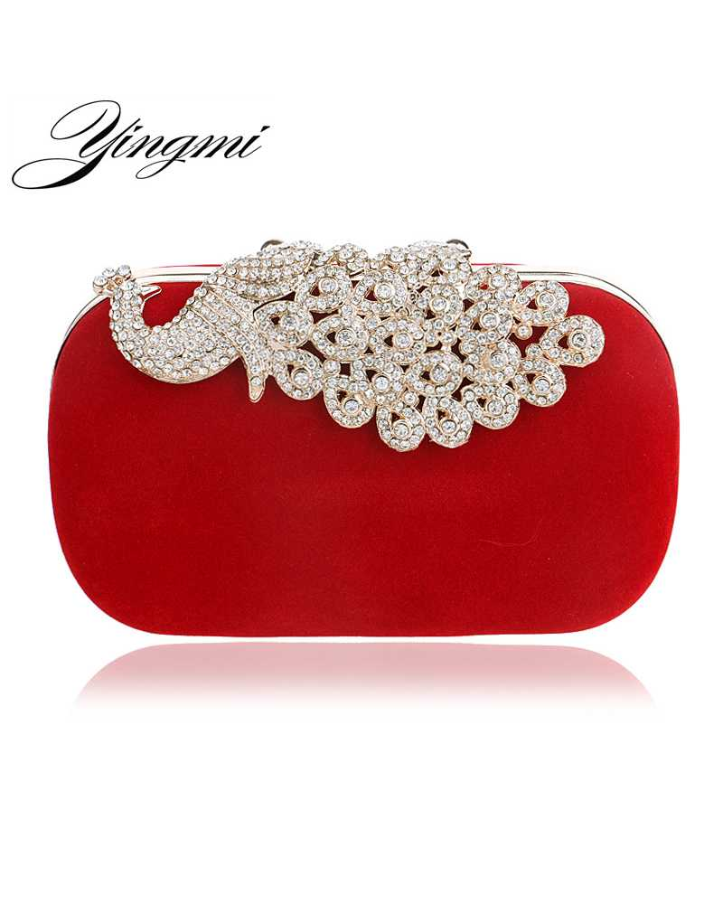 Crystal Peacock Women Clutches