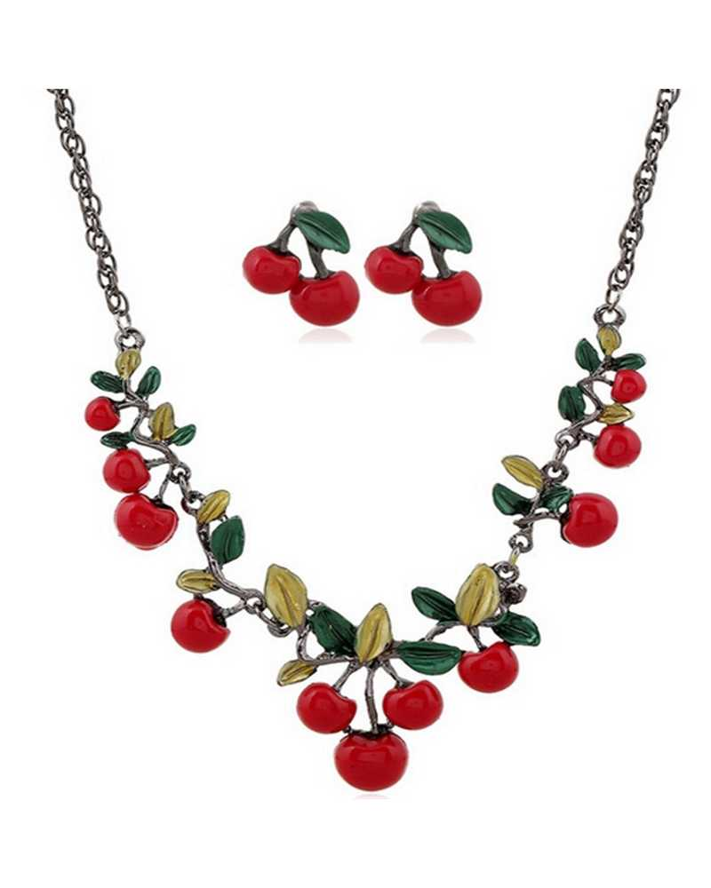 Red Cherry Necklace And Earrings