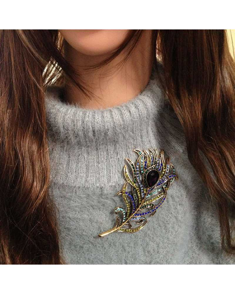 Antique Peacock Feather Brooch