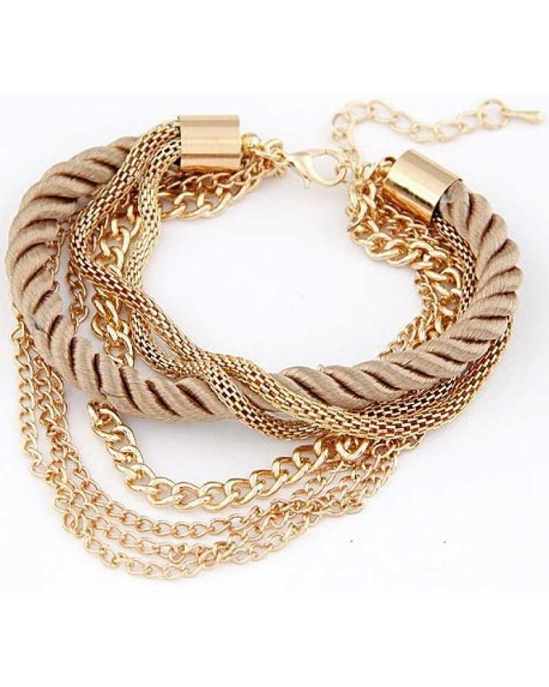 Gold Plated Multi Layer Charm Spunky Bracelet