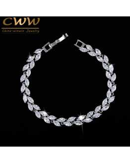 Silver Plated Leaf Model Zircon Bracelet