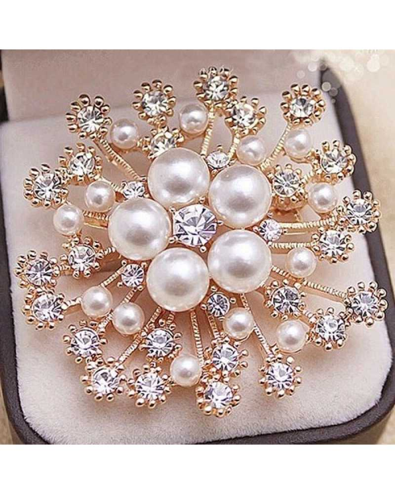 Pearl And Crystals Flower Brooch