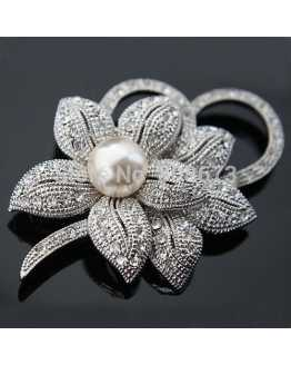 Rhodium Plated Flower Crystal Brooch