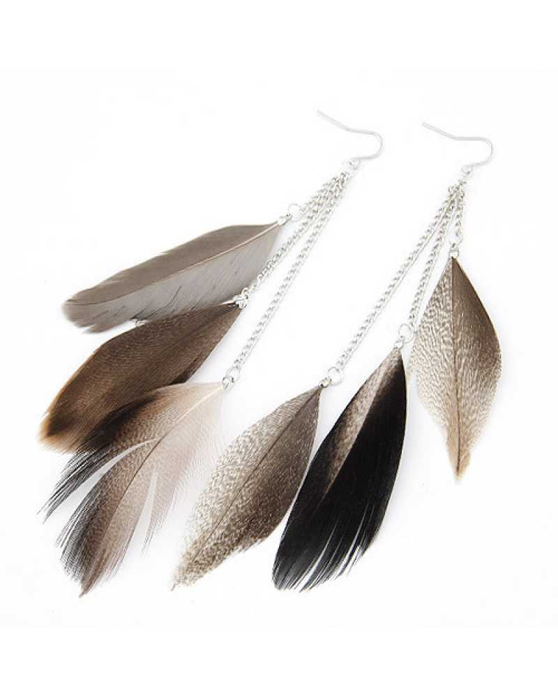 Feather Silver Long Exotic Earrings