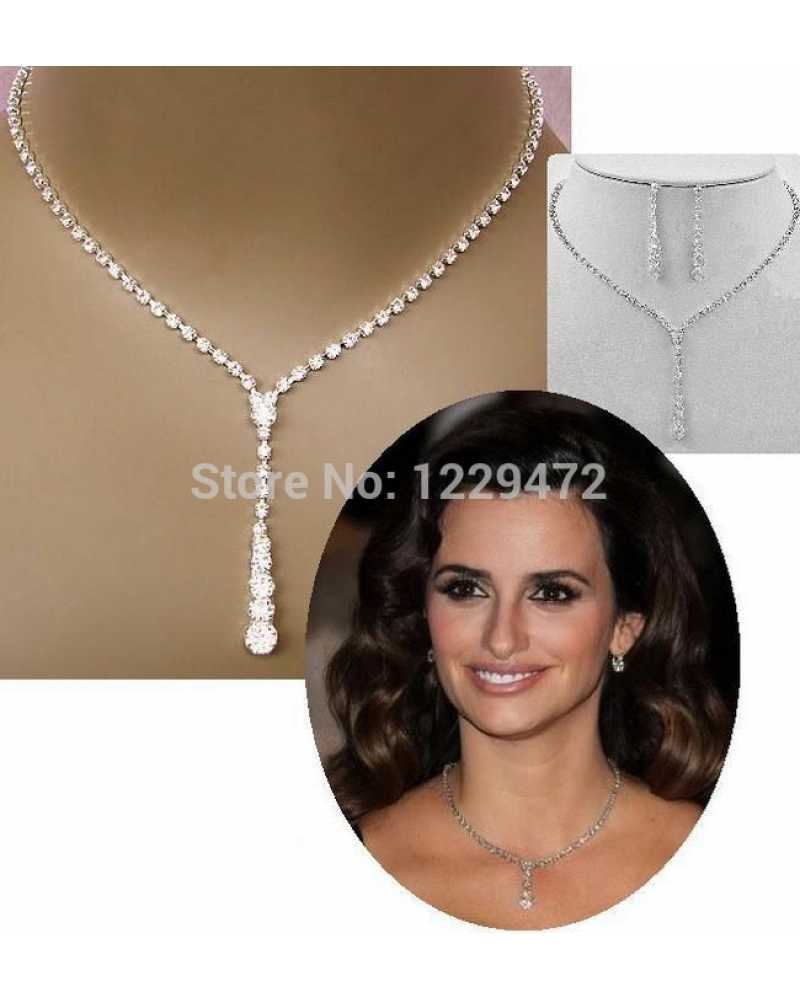 Style Tennis Drop Crystal Pendant With Earrings