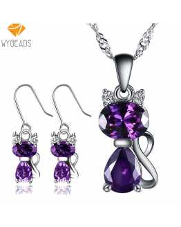 Austrian Crystal Cat Lovers Pendant With Earrings