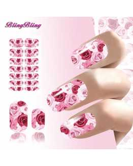 Bright  Rose Flowers Nail Stickers