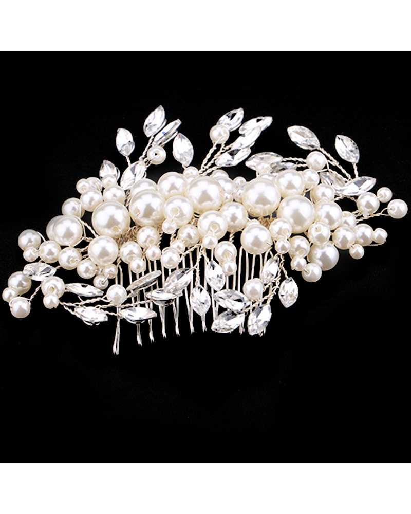 Pearl Crystal Flower Comb Hair Clip