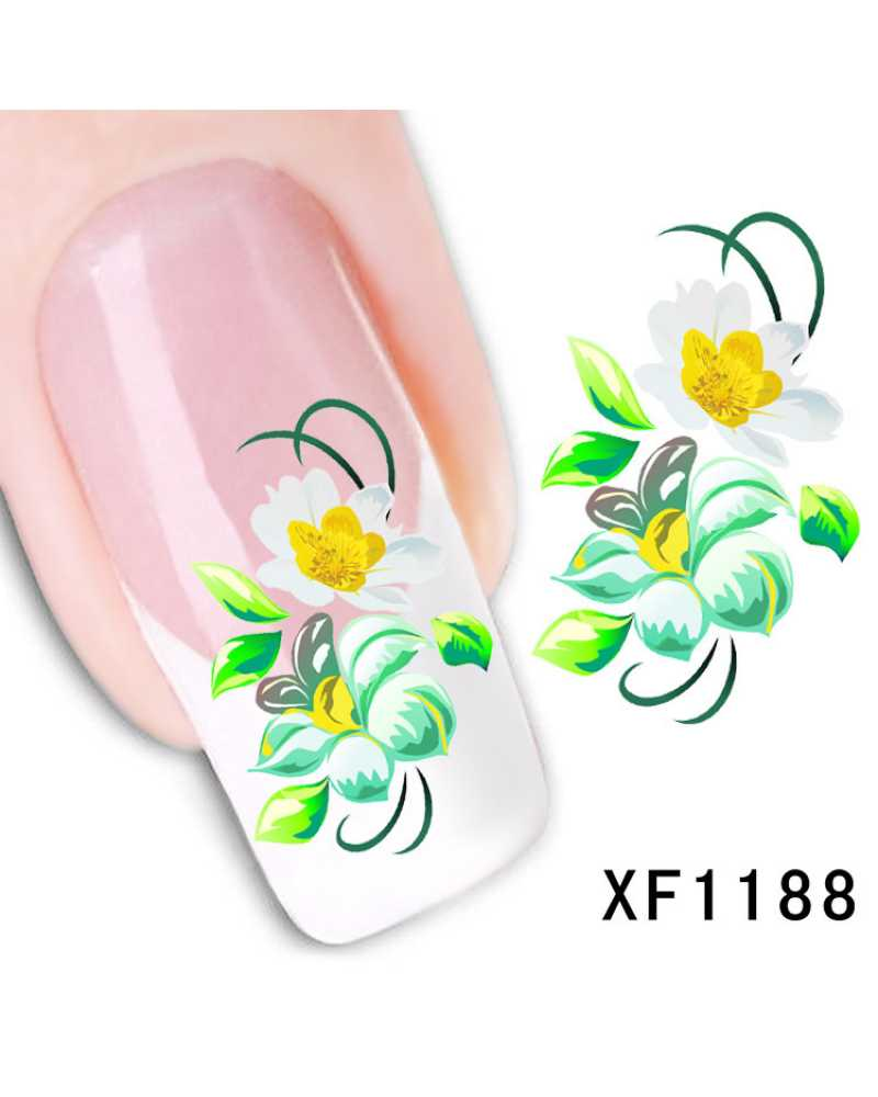 Green Flower Nail Stickers
