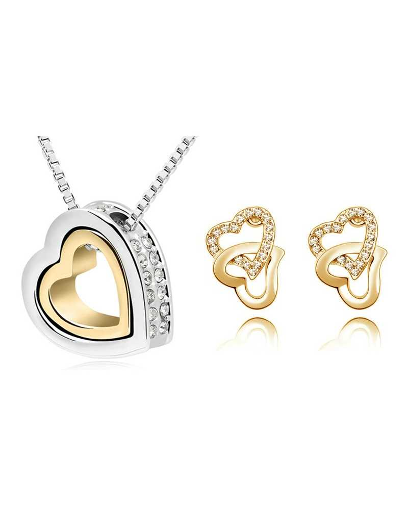 Double Heart Crystal Pendant With Earrings