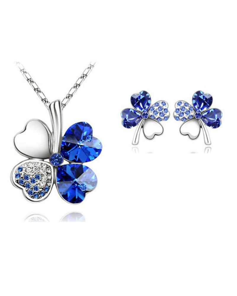 Austrian Crystal Rhinestones Leaf  Pendant With Earrings