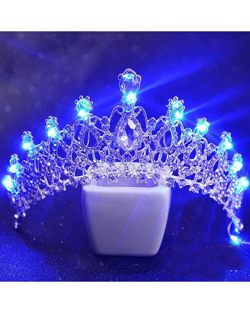 Blue LED Rhinestone Crystal Tiara / Crown